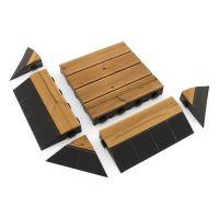 """Hnědý dřevoplastový nájezd """"samec"""" pro terasové dlaždice Linea Combi-Wood - délka 39 cm, šířka 20,5 cm a výška 6,5 cm"""