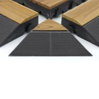 """Hnědý dřevoplastový nájezd """"samice"""" pro terasové dlaždice Linea Combi-Wood - délka 39 cm, šířka 19,5 cm a výška 6,5 cm"""