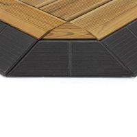 Hnědý dřevoplastový rohový nájezd pro terasové dlaždice Linea Combi-Wood - délka 20,5 cm, šířka 19,5 cm a výška 6,5 cm - 4 ks