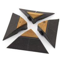 Hnědý dřevoplastový rohový nájezd pro terasové dlaždice Linea Combi-Wood - 20,5 x 19,5 x 6,5 cm - 4 ks
