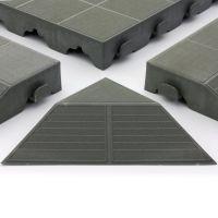 Šedý plastový rohový nájezd pro terasové dlaždice Linea Combi - výška 4,8 cm - 4 ks