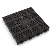 Tmavě hnědá plastová děrovaná terasová dlaždice Linea Combi - 40 x 40 x 4,8 cm