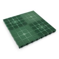 Zelená plastová děrovaná terasová dlaždice Linea Combi - délka 40 cm, šířka 40 cm a výška 4,8 cm