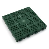 Zelená plastová děrovaná terasová dlaždice Linea Combi - 40 x 40 x 4,8 cm