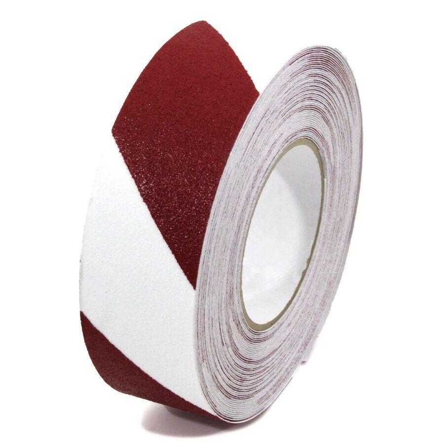 Bílo-červená korundová podlahová páska - délka 18,3 m, šířka 5 cm a tloušťka 0,7 mm