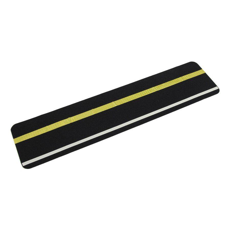Korundová protiskluzová podlahová páska s fotoluminiscenčním pruhem s reflexním pruhem - délka 61 cm a šířka 15 cm