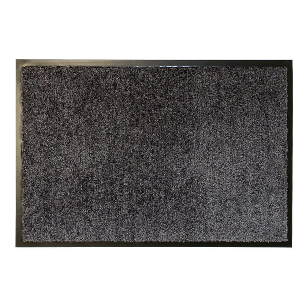 Šedá textilní vnitřní vstupní čistící antibakteriální rohož - délka 120 cm, šířka 80 cm a výška 0,9 cm