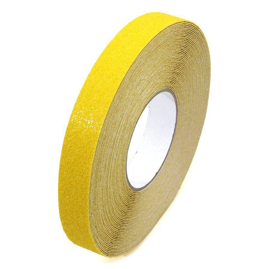 Žlutá korundová protiskluzová podlahová páska Super - délka 18,3 m, šířka 2,5 cm a tloušťka 1 mm