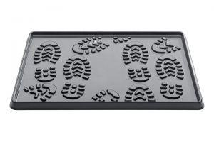 Černý plastový odkapávač na boty - 35 x 49 x 2 cm