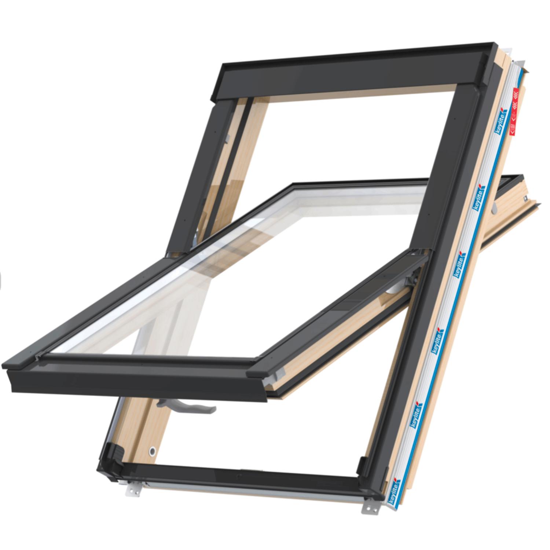 Střešní okno FLICK FIT CP ATG FF07F kyvné 94x140 cm dřevo lak 3-sklo Argon Keylite