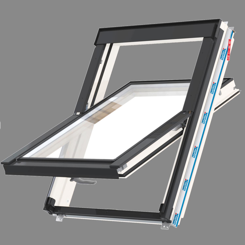 Střešní okno FLICK FIT WFCP ATG FF01C kyvné 55x118 cm dřevo bílá barva 3-sklo Argon Keylite