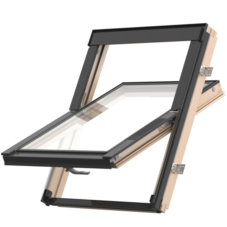 Střešní okno KEYLITE EASY BW T 06 kyvné 78x140 cm dřevo lak 3-sklo ATG Ug = 0,8W/m²K