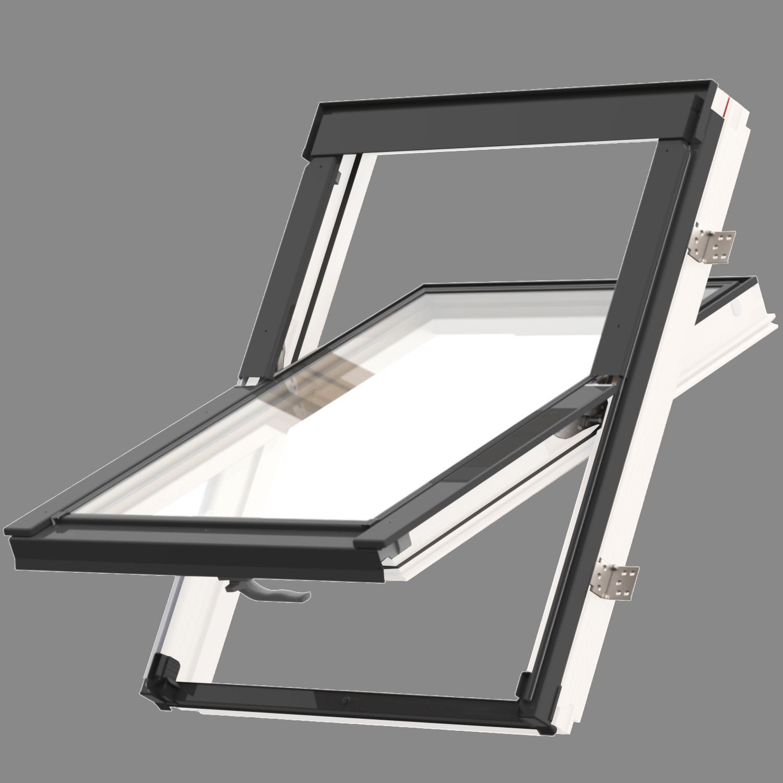 Střešní okno KEYLITE EASY WF BW T 01 kyvné 55x78 cm dřevo bílá barva3-sklo ATG Ug = 0,8W/m²K