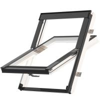 Střešní okno KEYLITE EASY WF BW T 02 kyvné 55x98 cm dřevo bílá barva3-sklo ATG Ug = 0,8W/m²K