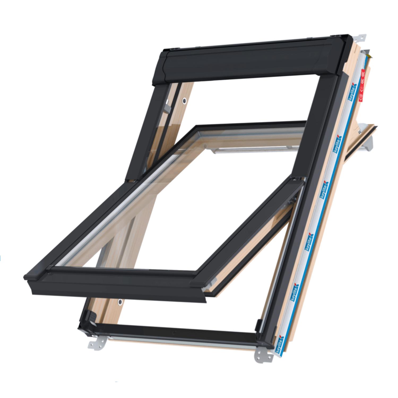 Střešní okno KEYLITE TCP ATG4 kyvné 78x98 cm dřevo lak 3-sklo Argon
