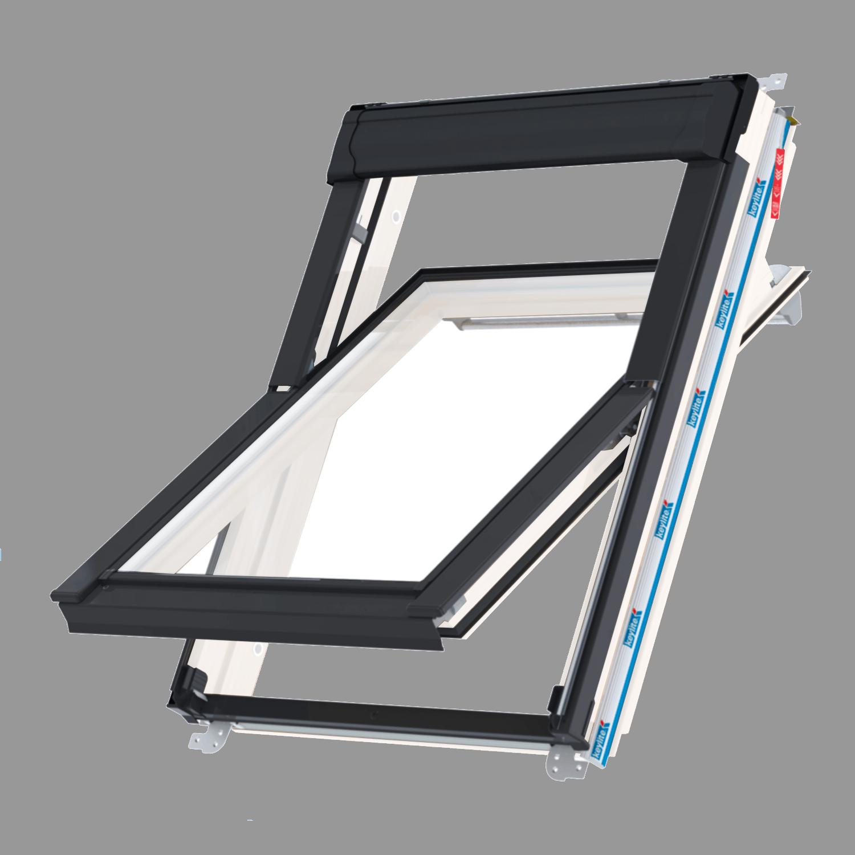 Střešní okno KEYLITE WFCP ATG4 kyvné 78x98 cm dřevo bílá barva 3-sklo Argon