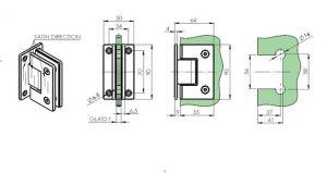 Pant pro skleněné dveře +/- 90stup.osový Leštěný