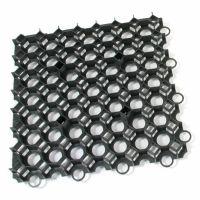 Černá plastová zatravňovací dlažba STELLA GREEN - délka 50 cm, šířka 50 cm a výška 4 cm