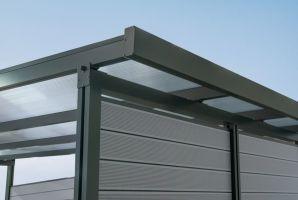 Zadní stěna ke Carport Premium - bílá / tmavě šedá, čirá - 2,96 m x 1,86 m