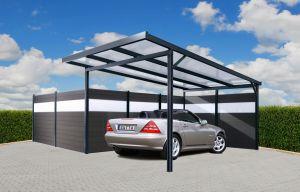 Zadní stěna ke Carport Premium -antracit / tmavě šedá, čirá - 2,96 m x 1,86 m