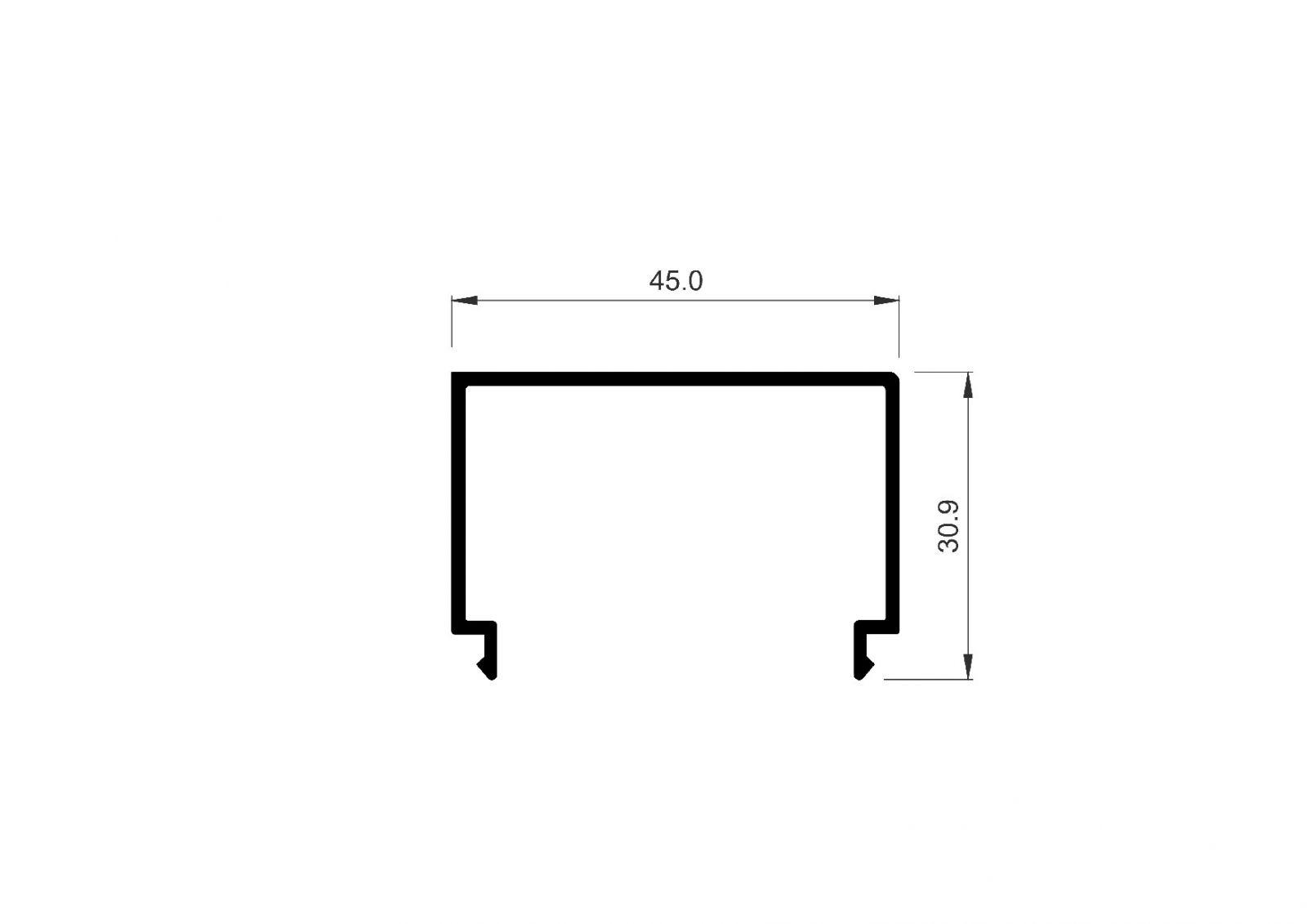Krycí lišta L profilu pro Hliníkový kotvící profil L - vrchní kotvení délka 6,1mm