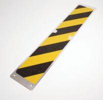 Černo-žlutý hliníkový protiskluzový nášlap na schody - délka 11,4 cm a šířka 62,5 cm FLOMAT