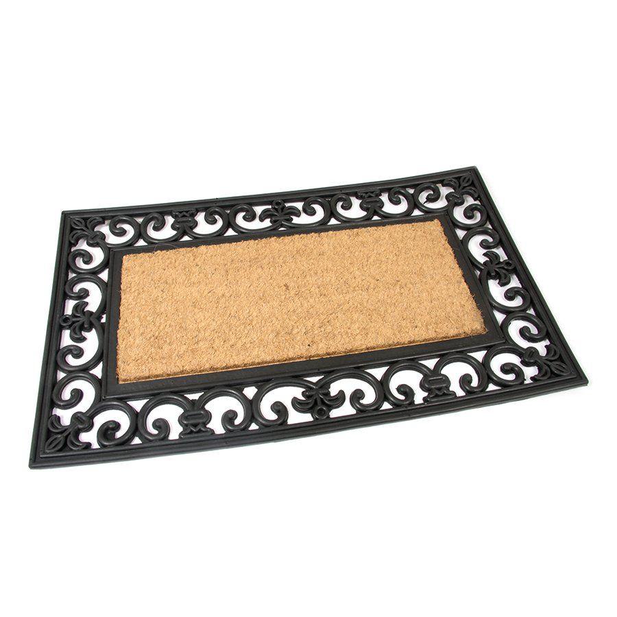 Kokosová čistící venkovní vstupní rohož Rectangle - Deco, FLOMAT - délka 45 cm, šířka 75 cm a výška 1,7 cm