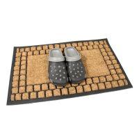 Kokosová čistící venkovní vstupní rohož Rectangle - Squares, FLOMAT - délka 45 cm, šířka 75 cm a výška 2,2 cm