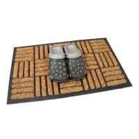 Kokosová čistící venkovní vstupní rohož Lines - Squares, FLOMAT - délka 45 cm, šířka 75 cm a výška 2 cm