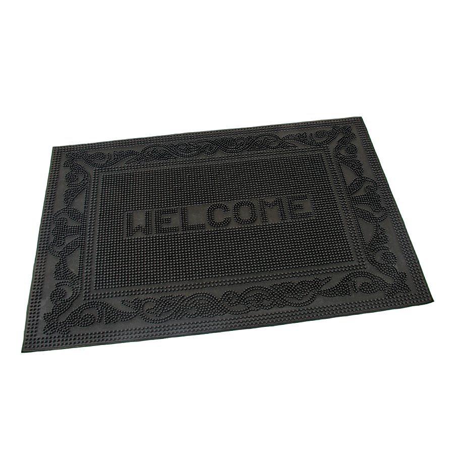 Gumová vstupní venkovní čistící rohož Welcome - Deco, FLOMAT - délka 40 cm, šířka 60 cm a výška 0,7 cm