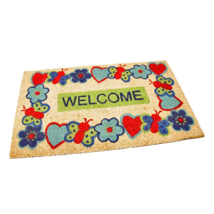 Kokosová vstupní venkovní čistící rohož Welcome - Cheerful, FLOMAT - délka 45 cm, šířka 75 cm a výška 1,7 cm