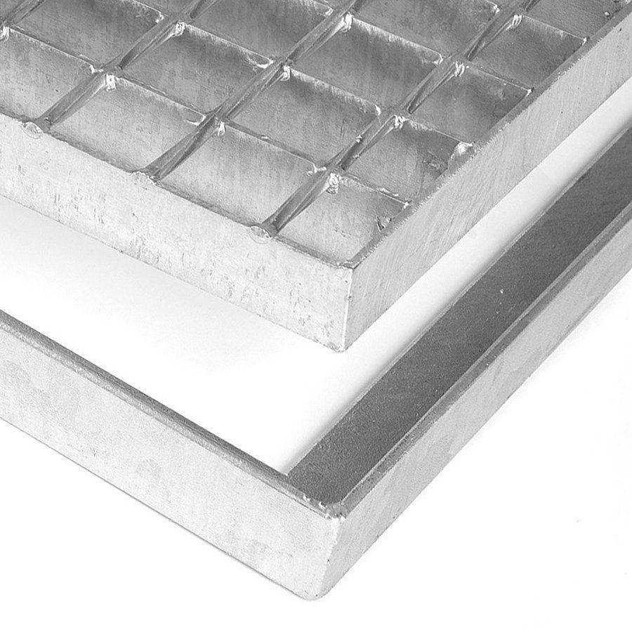 Kovová ocelová čistící venkovní vstupní rohož bez gumy bez pracen ze svařovaných podlahových roštů Galva, FLOMAT - délka 43 cm, šířka 151,5 cm a výška 3,5 cm