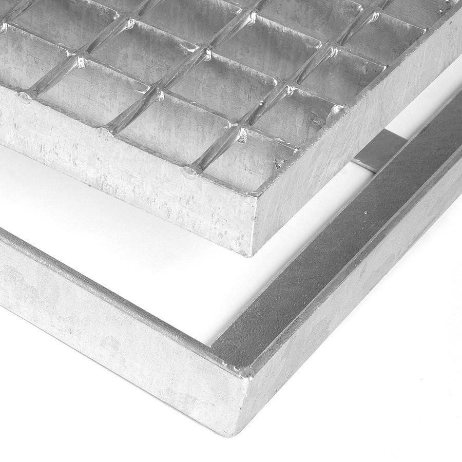 Kovová ocelová čistící venkovní vstupní rohož bez gumy s pracnami ze svařovaných podlahových roštů Galva, FLOMAT - délka 101,5 cm, šířka 151,5 cm a výška 3,5 cm