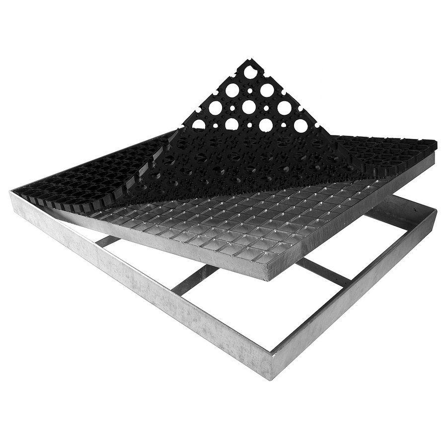 Ocelová kovová čistící venkovní vstupní rohož s pracnami s gumou ze svařovaných podlahových roštů Galva, FLOMAT - délka 43 cm, šířka 51,5 cm a výška 6 cm