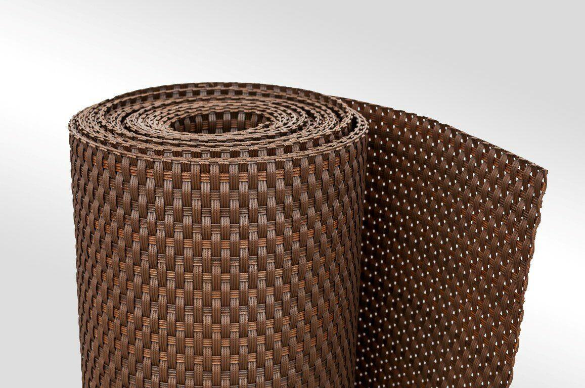 """Plastová ratanová metrážová stínící rohož """"umělý ratan"""" (tmavý ořech) - výška 90 cm"""
