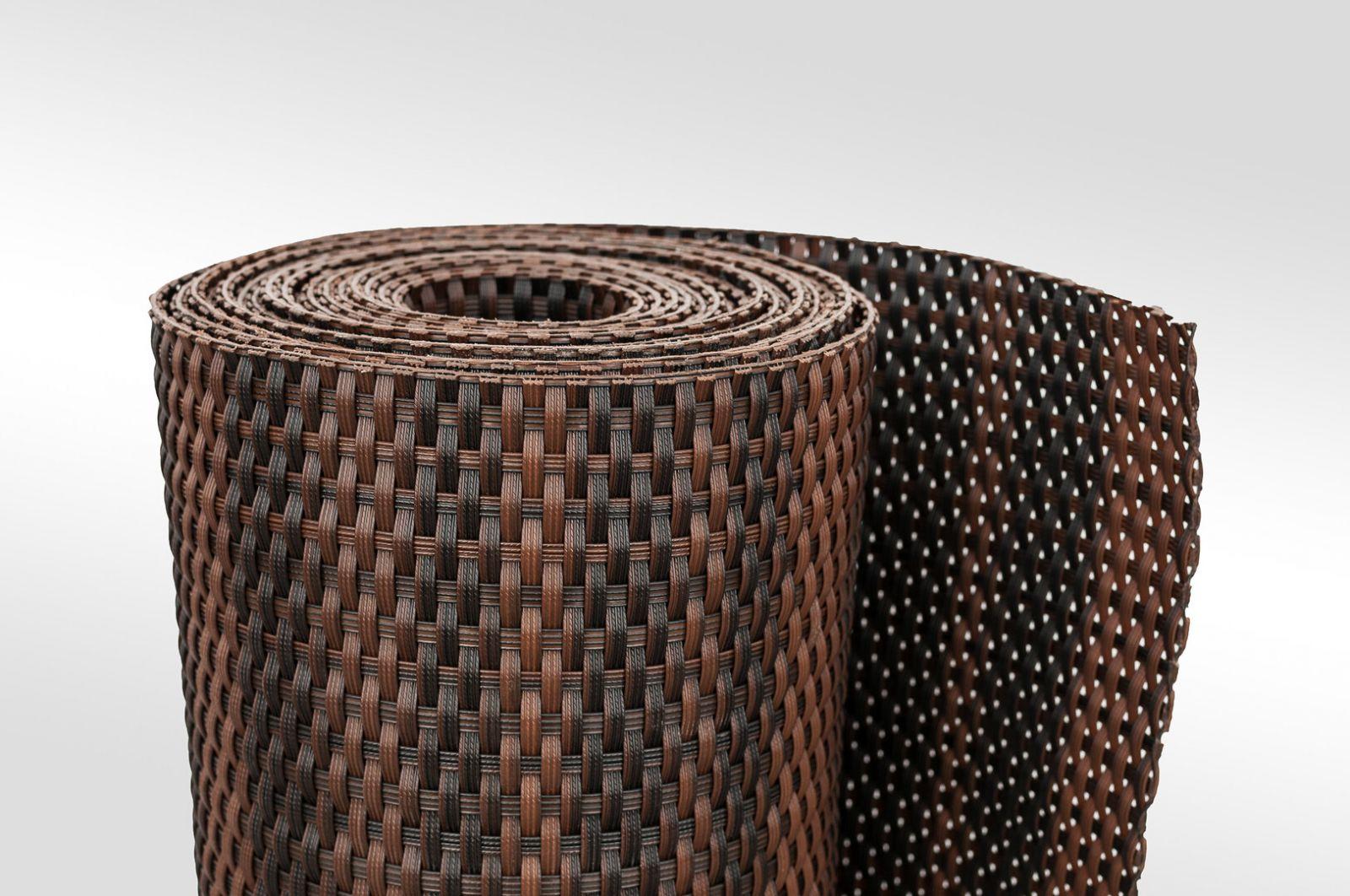 """Černo-hnědá plastová ratanová stínící rohož """"umělý ratan"""" - délka 500 cm a výška 75 cm"""