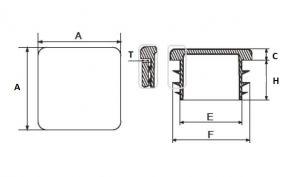 Plastová zátka jeklu čtvercová -