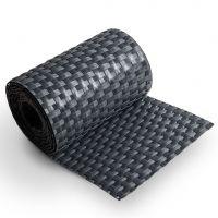 """Šedý plastový ratanový stínící pás """"umělý ratan"""" - délka 255 cm a výška 19 cm"""