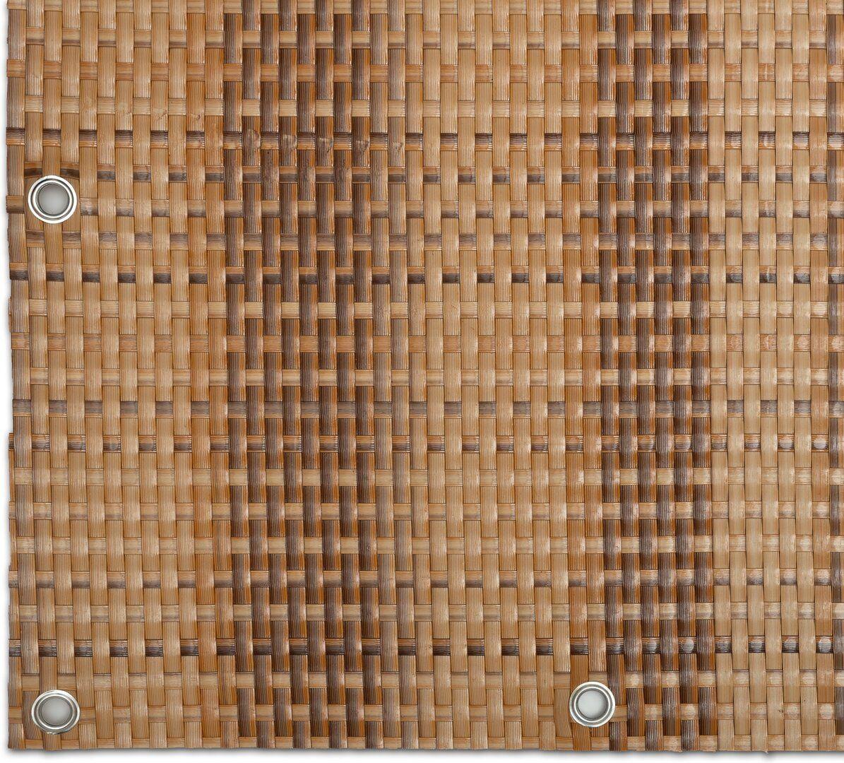 """Béžovo-hnědá plastová ratanová metrážová stínící rohož """"umělý ratan"""" s oky - výška 200 cm"""