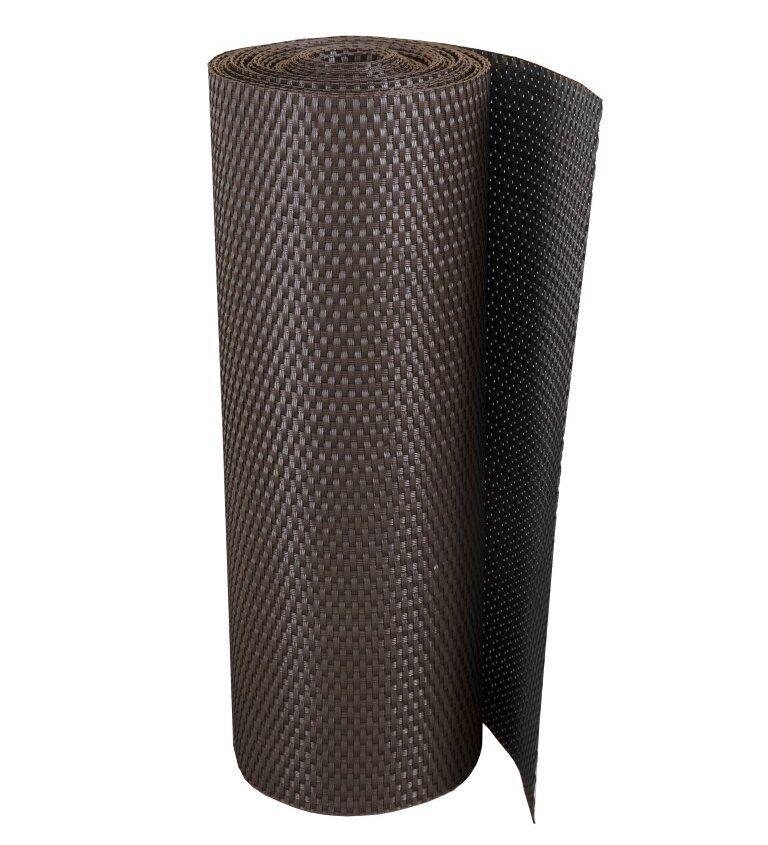 """Hnědá plastová ratanová metrážová stínící rohož """"umělý ratan"""" s oky - výška 200 cm"""