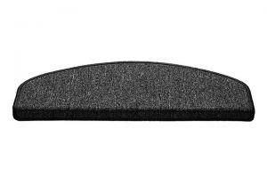 Černý kobercový půlkruhový nášlap na schody Paris - délka 65 cm a šířka 25 cm