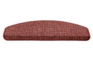 Červený kobercový půlkruhový nášlap na schody Imola - délka 56 cm a šířka 17 cm