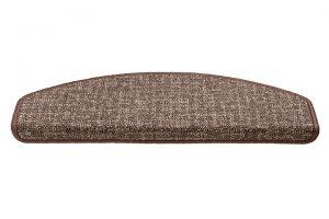 Hnědý kobercový půlkruhový nášlap na schody Imola - délka 56 cm a šířka 17 cm