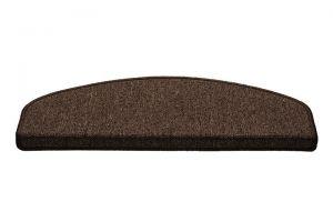 Hnědý kobercový půlkruhový nášlap na schody Paris - délka 65 cm a šířka 25 cm