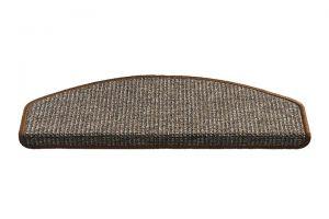 Hnědý kobercový půlkruhový nášlap na schody Stockholm - délka 56 cm a šířka 17 cm