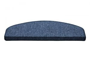 Modrý kobercový půlkruhový nášlap na schody Paris - délka 65 cm a šířka 25 cm