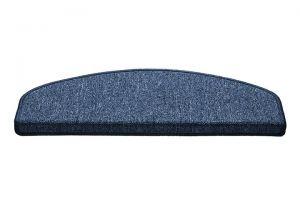 Modrý kobercový půlkruhový nášlap na schody Paris - délka 56 cm a šířka 17 cm