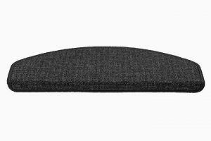 Šedý kobercový půlkruhový nášlap na schody Imola - délka 56 cm a šířka 17 cm
