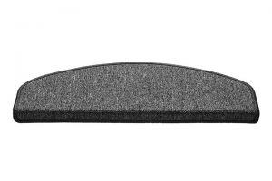 Šedý kobercový půlkruhový nášlap na schody Paris - délka 56 cm a šířka 17 cm