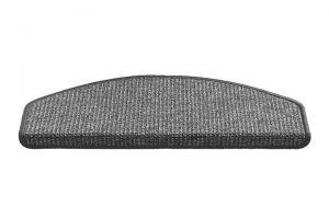 Šedý kobercový půlkruhový nášlap na schody Stockholm - délka 56 cm a šířka 17 cm